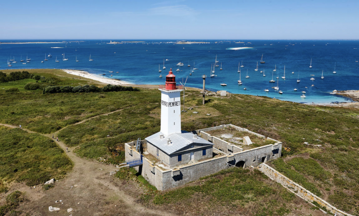 View of the famous lighthouse in Penfret Island