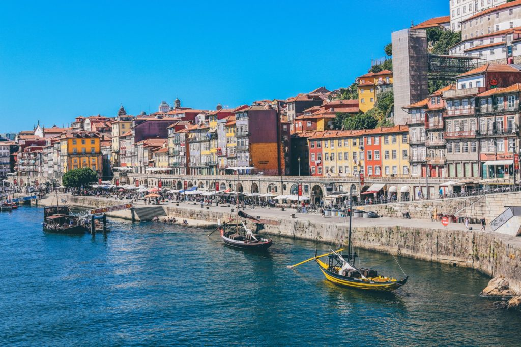 View of the river side in Porto with the colourful buildings