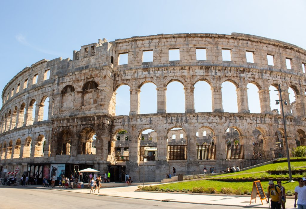 View of the famous amphitheatre in Pula