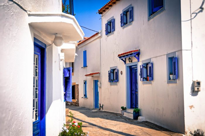 Stunning view of the streets in the village Skiathos
