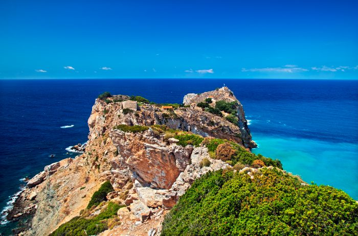 Aerial view of a stunning cliff in Skiathos