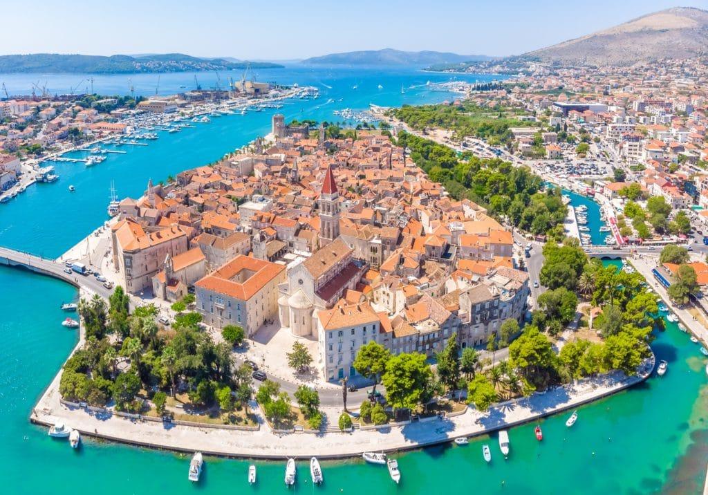 Aerial view of Trogir town in Croatia
