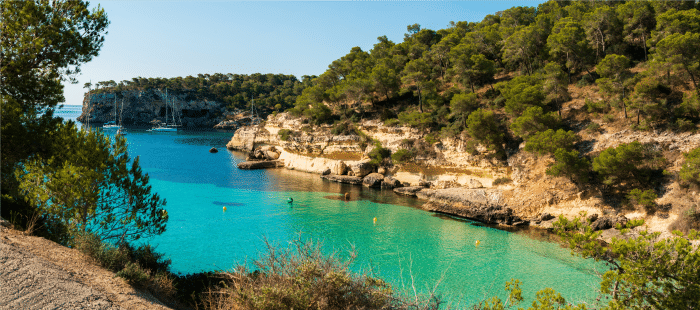 Aerial view of a bay in Cala del Mago surrounded by cliffs and greenery