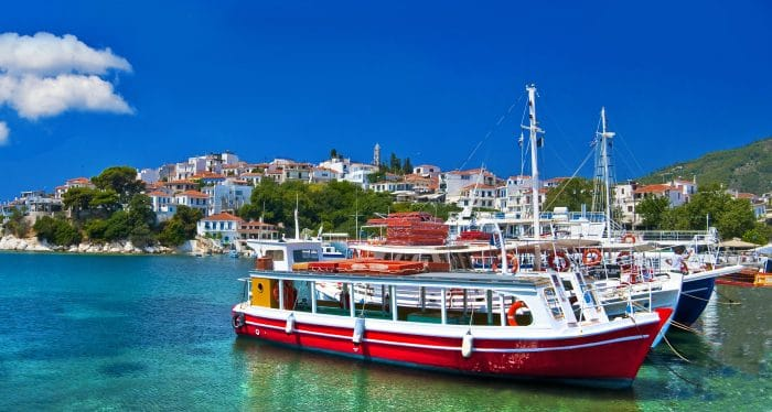 View of a boat in the port of Skopelos