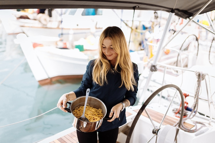 cooking on board of a sailboat