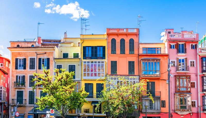 Vibrant colored buildings in the center of Mallorca